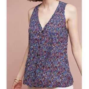 Anthropologie Maeve Tank Top Pintuck Frayed Hem